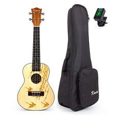 Concert Ukulele Hawaii Guitar 24 Inch Top Laminated Spruce with Bag JOYO Tuner