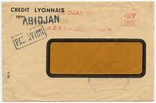 FRENCH IVORY COAST METER FRANKING AIRMAIL WINDOW ENVELOPE CREDIT LYONNAIS