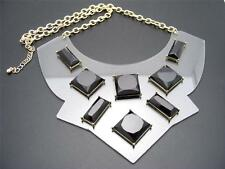 $24 Panacea Clear Lucite Bib Black Cabochon Statement Necklace Goldtone Chain