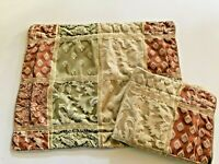 JCP Pillow Shams Set 2 Green Orange Beige Neutral Brocade French Country Lot o