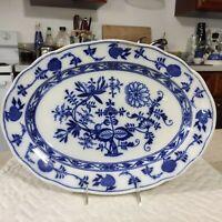 "Antique Teichert Meissen Porcelain Blue Onion scalloped Oval Platter 15.5"" inch"