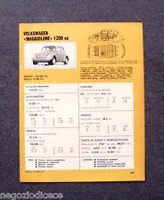 BE33 - Clipping-Ritaglio -1973- MINI SCHEDA TECNICA , VOLKSWAGEN MAGGIOLONE 1200