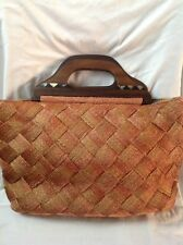 Adrienne Vittadini Natural Woven Wood Handle Mother of Pearl Inlay XL Tote Purse