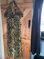 "Lovely Halter Neck Dress Chest 36"" Approx Size 12 Mixed Green Beige. Pretty."