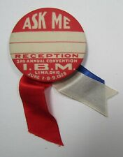 Vintage 1928 Ibm International Brotherhood Of Magicians Lima Convention Pinback