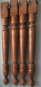 """VINTAGE set of 4 CHUNKY MAPLE DINING TABLE LEGS  29""""  high"""