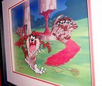 TAZ TASMANIAN DEVIL GOES 3-D DIMENSIONAL LE HAND PAINTED CEL FRAMED WARNER BROS