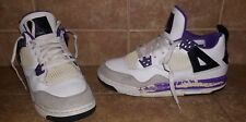 Nike Girls Air Jordan 4 IV Retro GS White Purple Grey 487724 108 Size 6Y Cement