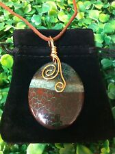 Copper Wire Wrapped Oval Dragon Vein Agate Gemstone Pendant Necklace