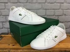 LACOSTE MENS UK 9.5 EU 44 NOVAS WHITE SILVER LEATHER TRAINERS RRP £75 SUMMER