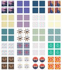 Ambesonne Nautical Pattern Coaster Set of 4 Square Hardboard Gloss Coasters