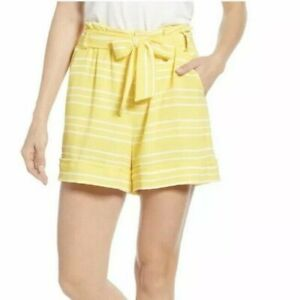 """GIBSON Size XS Tie Waist Paperbag Shorts 4"""" Inseam Belt Pockets Lined NEW"""