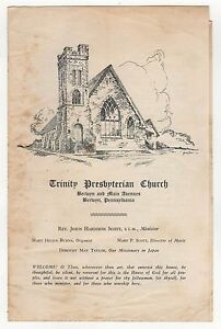 BERWYN PENNSYLVANIA Trinity Presbyterian Church 1954 Worship PROGRAM Service