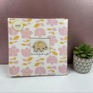 Carter's Photo Album Wood Elephant Pink Flowers New