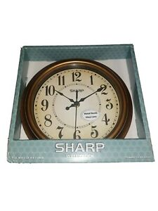 "SHARP ""Bronze Brushed"" WALL CLOCK 9.25""W x 9.25""H x 1.57""D"