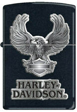 Zippo Lighter Harley Davidson Logo Black Eagle Windproof USA 12845