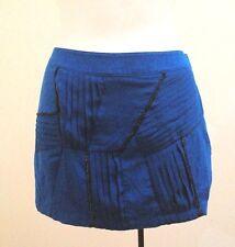Twelve by Twelve XS TP Skirt Blue Black Chain Pleated Micro Mini Punk Club