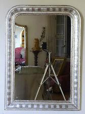 Ancien grand miroir Louis Philippe argenté à la feuille. mirror Spiegel specchio
