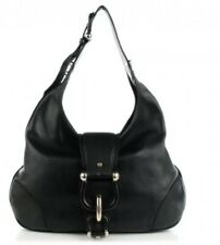 BURBERRY Calfskin Hillgate black Buckle hobo shoulder Purse made in Italy