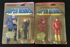 "2 TOY BIZ DC COMICS SUPER HEROES THE FLASH, LEX LUTHOR 5"" FIGURES 1989-90 MOC"