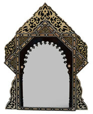 Vintage Moroccan Wood Wall Hanging Mirror Frame, Mother of Pearl & Bone Inlaid