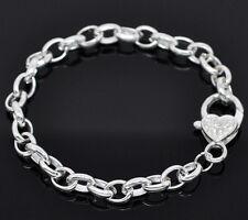 5 SP Heart Lobster Clasp Bracelet Fit Clip On Charm20cm