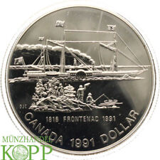 Aa3737) Canada 1 dollars 1991 S. S. Frontenac Argent