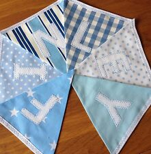 PERSONALISED BUNTING Banner Boys NEW BABY Blue And White - White Felt