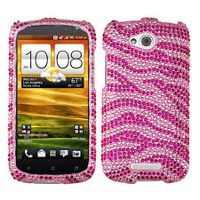 For AT&T HTC ONE VX Crystal Diamond BLING Hard Case Phone Cover Pink Zebra
