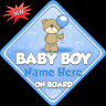 Personalised Baby Boy Baby/ child on Board Car Window Sign New!tedballoon