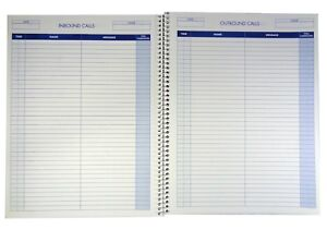 """Adams Call Register Log Book Incoming/Outgoing 8.5x11"""" 3800 Messages 100 Pages"""