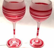 """New listing (2) Red Stripe Frosted 8.5"""" Wine Goblets Very Elegant / Festive"""