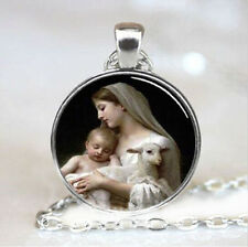 Virgin Mary Jesus and Lamb Cabochon Glass Chain silver Pendant Necklace jewelry