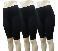 3 SPANDEX LONG LENGTH BLACK SHORTS YOGA CHEERLEADER EXERCISE WORKOUT LADIES