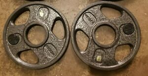 Olympic Size Barbell Weights Pair of 2.5 Lb Plates grip home gym 5lbs total