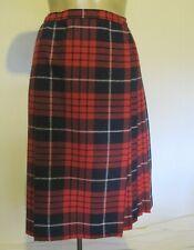 Skirt Tartan Kilt Wrap 70% Wool Check Red Pleat Knee length Genuine 60s Vintage