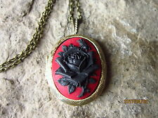 BLACK ROSE ON RED CAMEO BRONZE LOCKET - UNIQUE - VAMPIRE - WITCH - GOTH