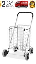 Jumbo Folding Shopping Cart with Wheels Heavy Duty Size Basket Laundry Grocery