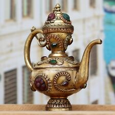 Antique Brass Vintage Hand made Engraved Bone Tea Kettle