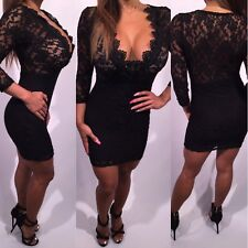 Connie's Stretch Black Lace Mini Dress See Thru top lace and Lined Bottom  M