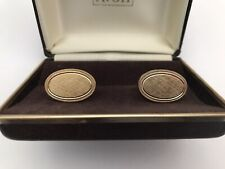 In Original Faux Brown Leather Box Men's Brushed Oval Goldtone Cuff Links -