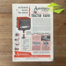 VINTAGE 1953 AUTOMATIC TRACTOR RADIO MFG CO ORIGINAL PRINT ADVERT