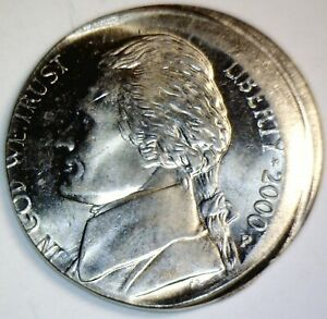 2000 ERROR Jefferson Nickel OFF CENTER CH / GEM BU Coin ~ NICE O/C LOT #12  NR