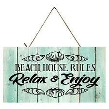 Beach House Rules Relax & Enjoy  Printed Handmade  Wood Sign