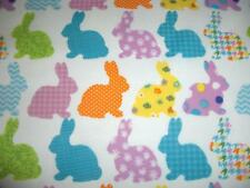 Easter Whimiscal Bunnies Dots Checks Flowers White  Cotton Quilt Fabric BTY