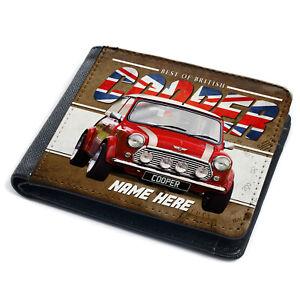 Personalised Mini Cooper Wallet British Classic Car Red Retro Dad Mens Gift CL35