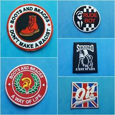 More details for collection of five individual sew on / iron on patches:- boots & braces skinhead