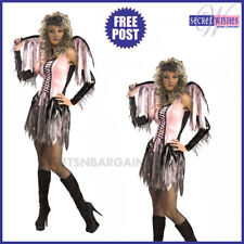 Adult Spider Web Fairy Pink Angel Halloween Costume Women Wings Dress Glove etc