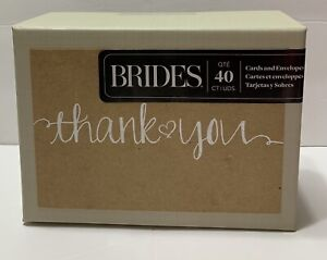 BRIDES Thank You Notes, 40 Count, Rustic, Editors of Brides Magazine