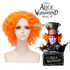 35cm Orange Curly For Alice in Wonderland 2 Mad Hatter Cosplay Perücke Wig + Cap